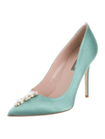with mastercard on hot sale Sarah Jessica Parker Satin Embellished Pumps w/ Tags free shipping looking for outlet discount authentic cheap sale affordable kGA5QyM