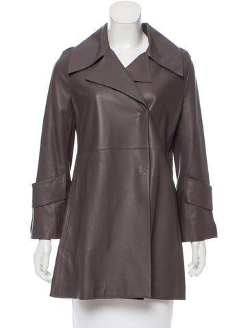 Dorothee Schumacher Leather Notch-Lapel Coat w/ Tags None
