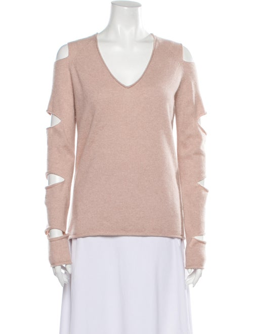 Skull Cashmere Cashmere V-Neck Sweater Pink