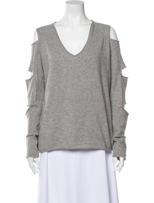 Skull Cashmere Cashmere V-Neck Sweater Grey