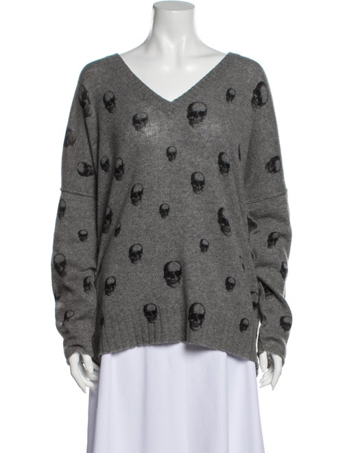 Skull Cashmere Cashmere Printed Sweater Grey