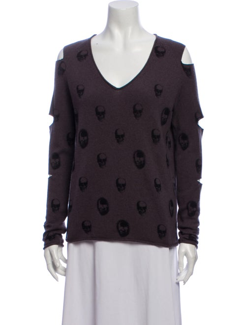 Skull Cashmere Cashmere Patterned Sweater Purple - image 1