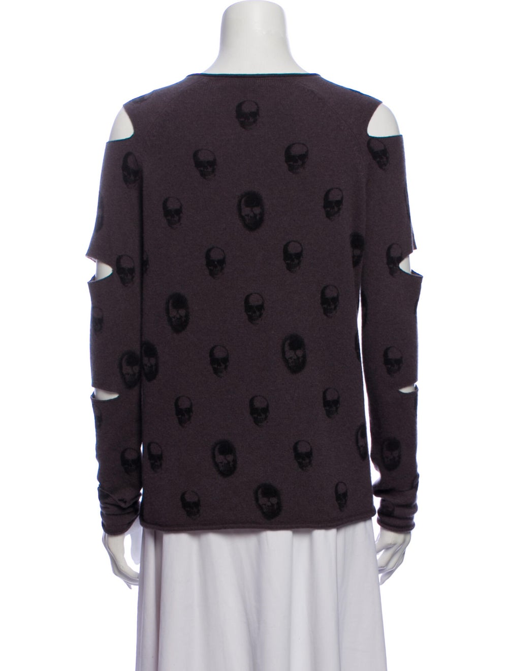 Skull Cashmere Cashmere Patterned Sweater Purple - image 3