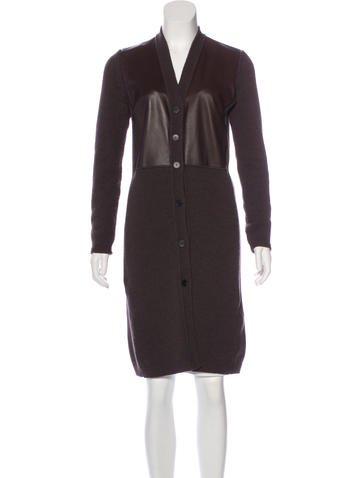 'S MaxMara Leather Paneled Wool Cardigan None