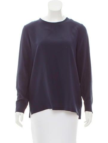 'S MaxMara Silk Long Sleeve Top None