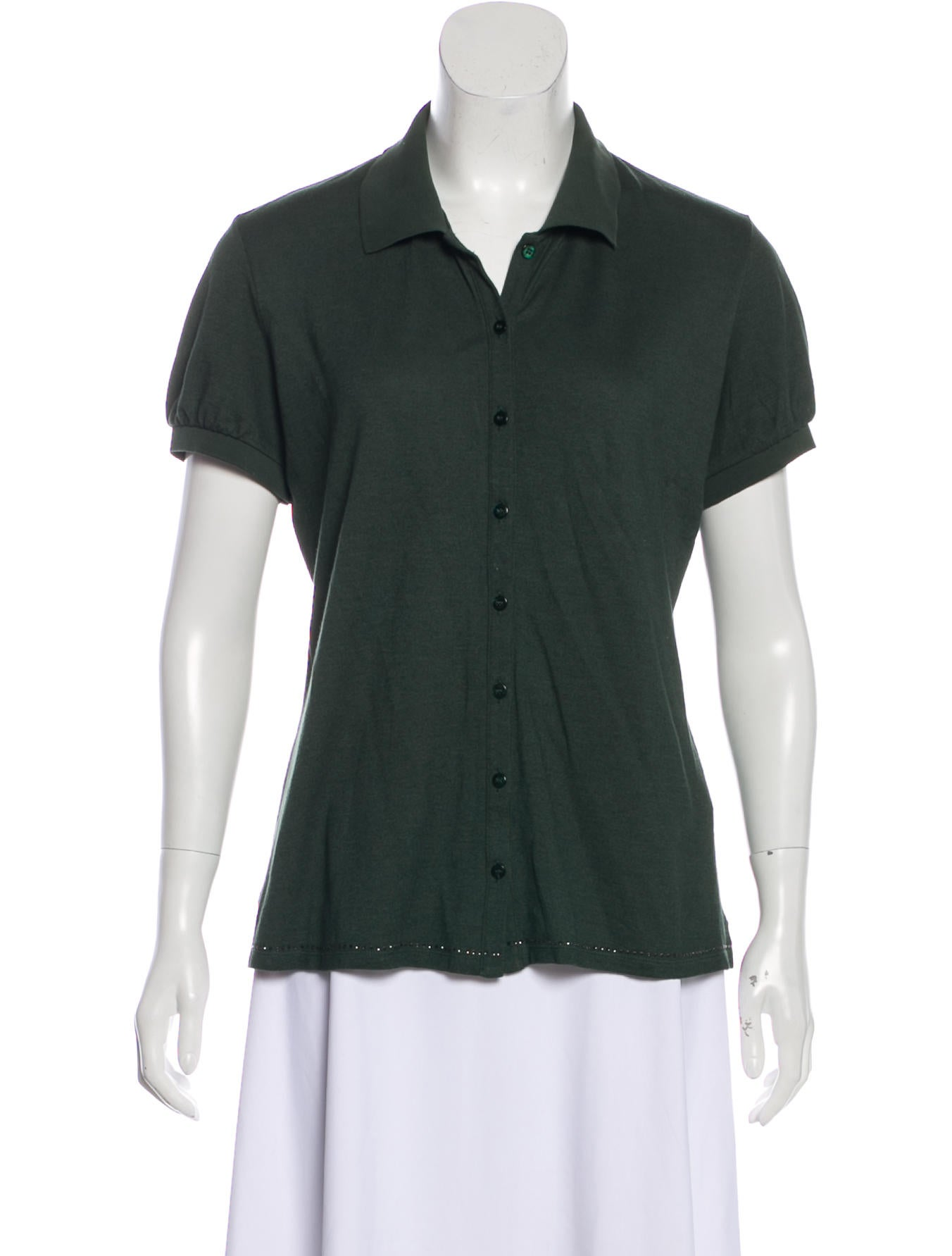 S Maxmara Button Up Short Sleeve Top