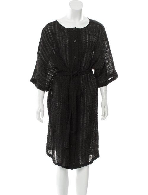 Samuji Short Sleeve Textured Midi Dress Black