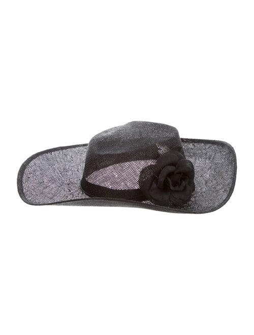 Samuji Floral-Embellished Straw Hat Black