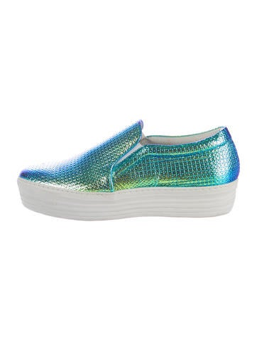 joshua sanders holographic slip on sneakers shoes