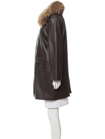 June Fur-Trimmed Leather Coat - Clothing - WSNSD20001 | The RealReal