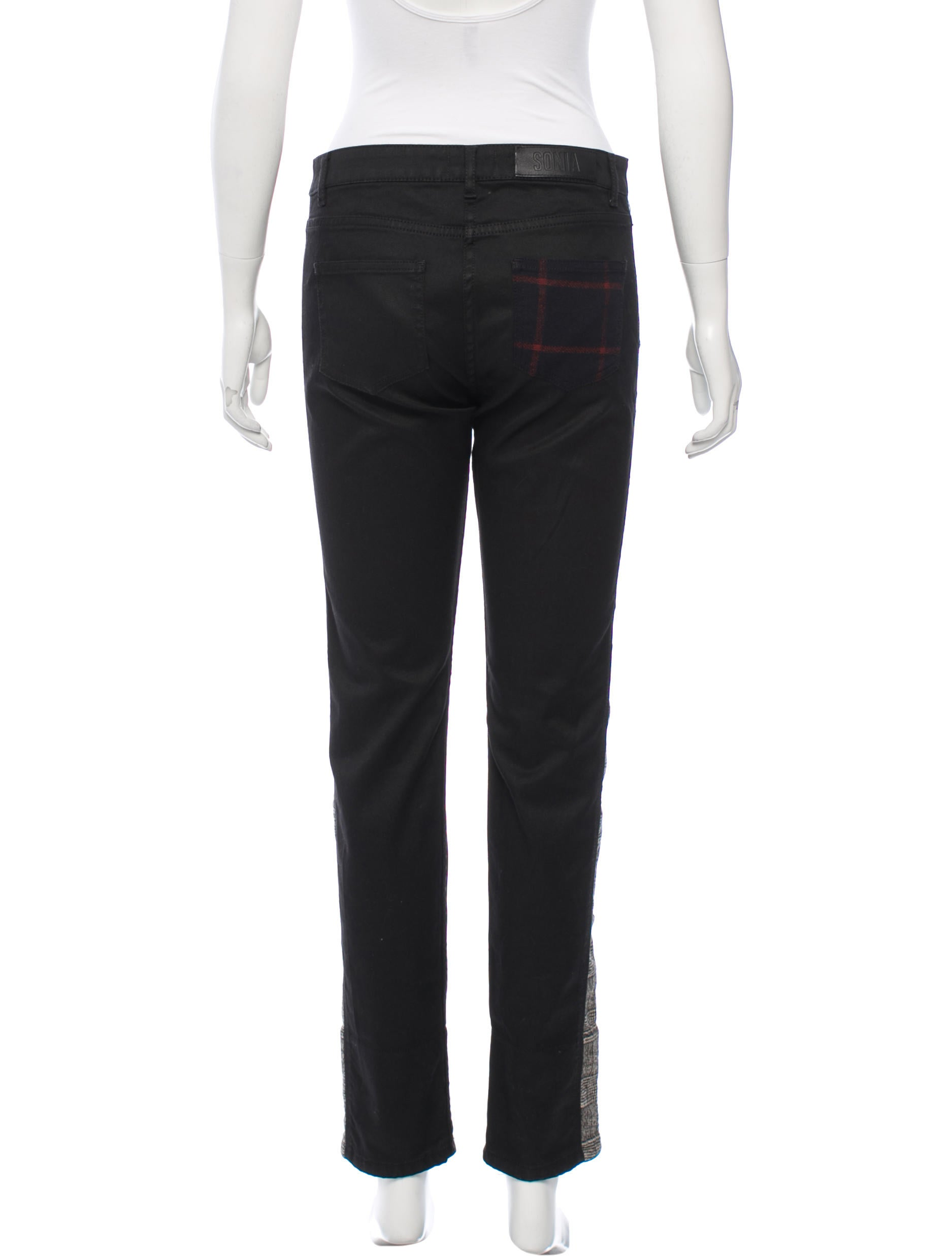 sonia by sonia rykiel plaid accented skinny jeans w tags clothing wso21073 the realreal. Black Bedroom Furniture Sets. Home Design Ideas