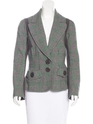 Sonia by Sonia Rykiel Plaid Wool Blazer None