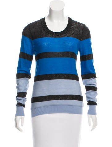 Sonia by Sonia Rykiel Wool-Blend Metallic Stripe Sweater None