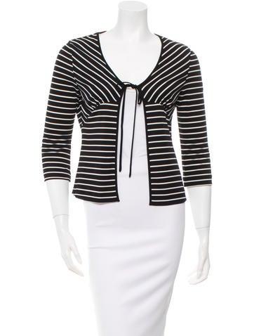 Sonia by Sonia Rykiel Three-Quarter Sleeve Striped Cardigan None