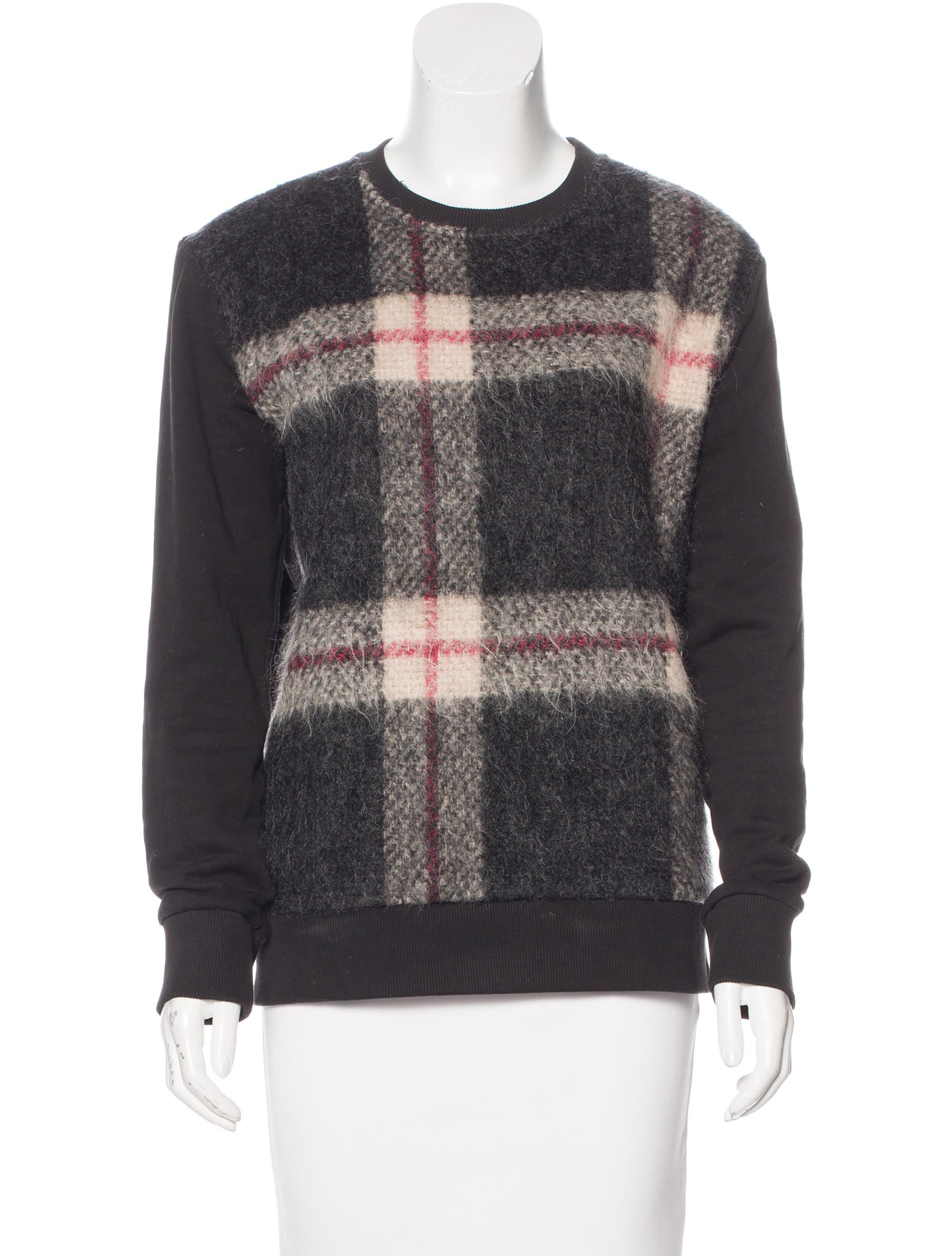 sonia by sonia rykiel wool accented plaid sweatshirt. Black Bedroom Furniture Sets. Home Design Ideas