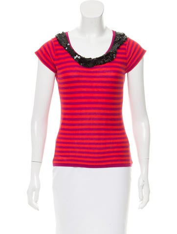 Sonia by Sonia Rykiel Striped Sequined Top None