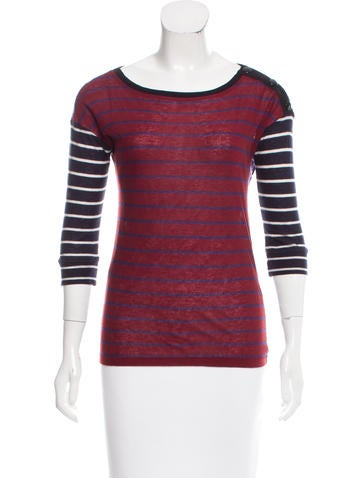Sonia by Sonia Rykiel Snap-Accented Striped T-Shirt None