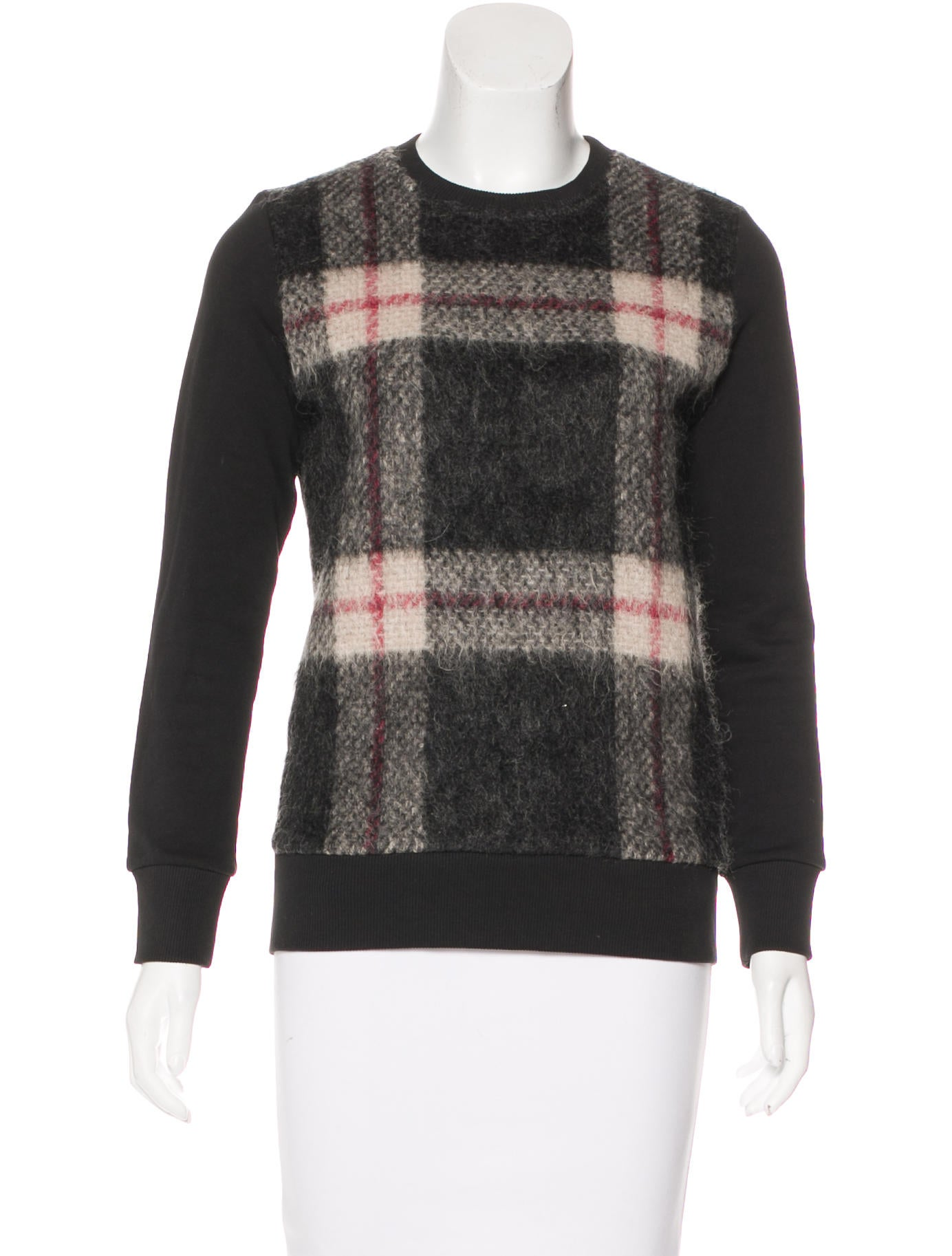 sonia by sonia rykiel plaid crew neck sweatshirt. Black Bedroom Furniture Sets. Home Design Ideas
