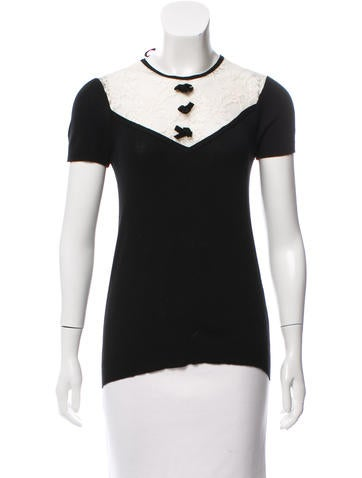 Sonia by Sonia Rykiel Lace-Accented Short Sleeve Sweater None