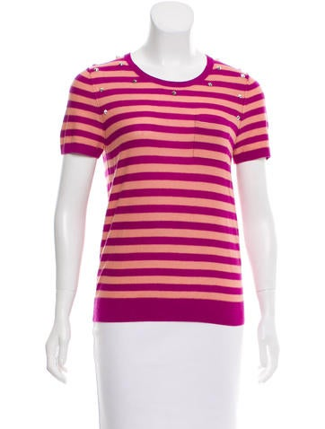 Sonia by Sonia Rykiel Striped Embellished Top None