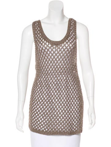 Soft Joie Sleeveless Open-Knit Top None
