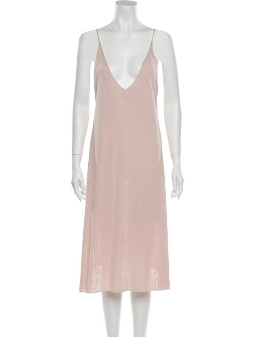 Soyer V-Neck Midi Length Dress Pink