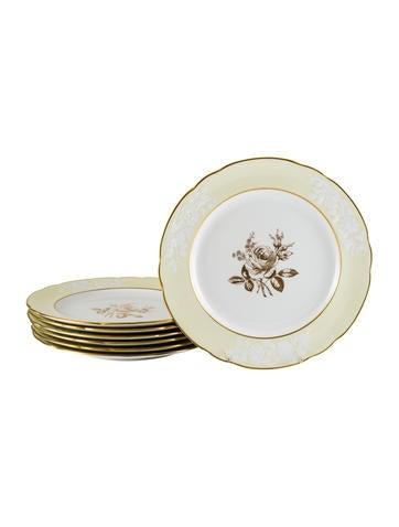 Spode Set of 7 Gilt Rose Dinner Plates None