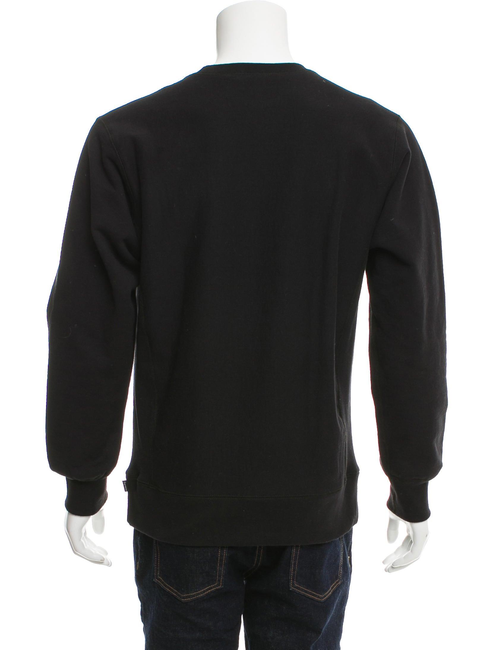 supreme logo embroidered crew neck sweatshirt clothing. Black Bedroom Furniture Sets. Home Design Ideas