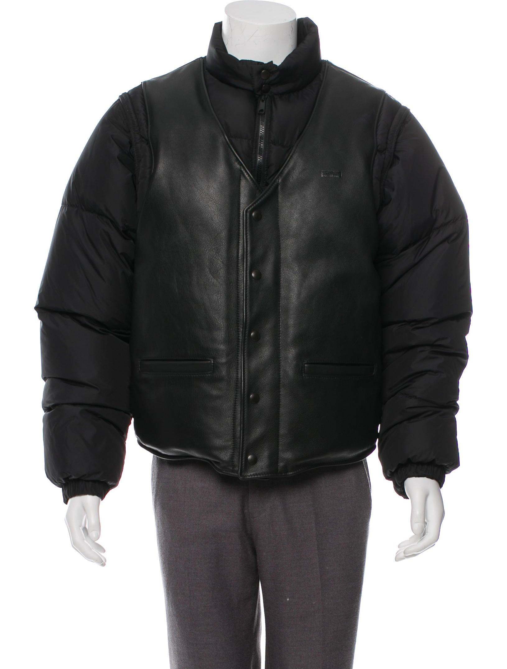 Supreme x Schott NYC 2018 Leather Vest Puffy Jacket