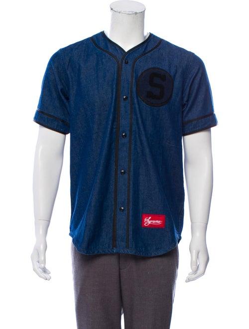Supreme Denim Baseball Jersey blue