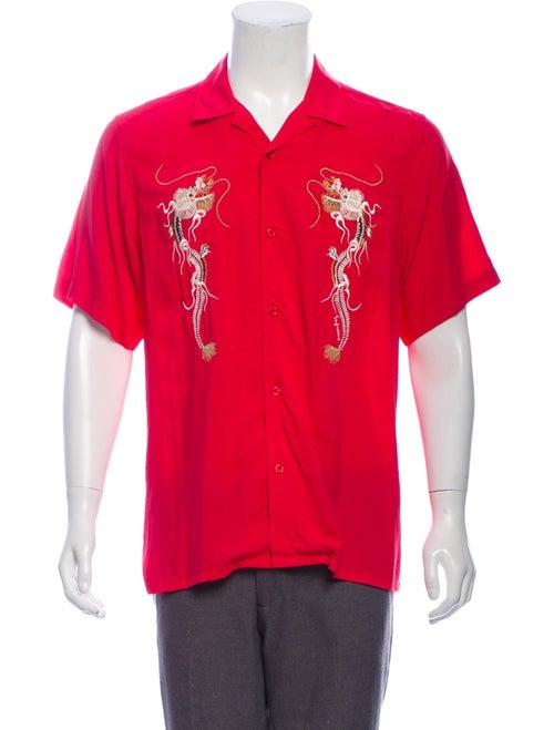 Supreme 2018 Dragon Rayon Shirt Shirt Pink