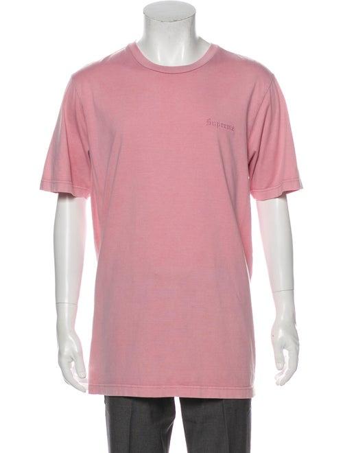 Supreme Logo Embroidered Crew Neck T-Shirt Pink