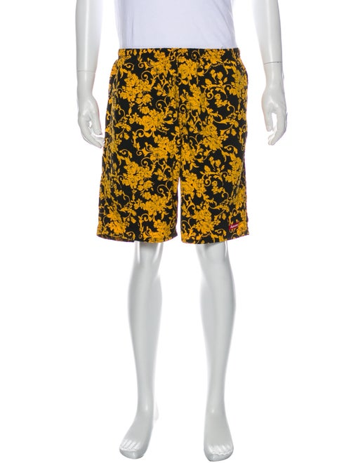 Supreme Black Floral Printed Swim Trunks Black