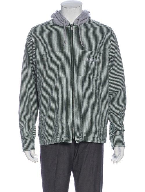 Supreme 2017 Hooded Stripe Denim Zip Up Shirt Deni