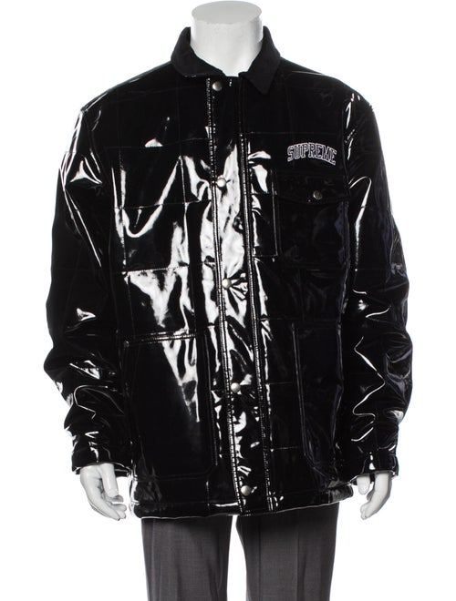 Supreme 2018 Quilted Patent Vinyl Work Puffer Coat