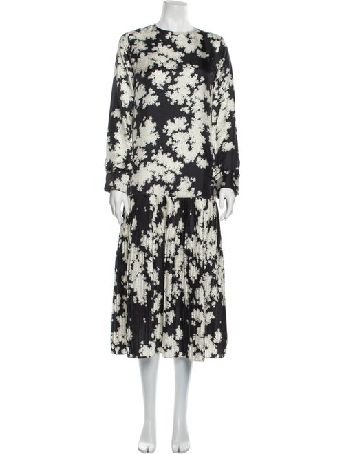 Saks Potts Floral Print Long Dress Black