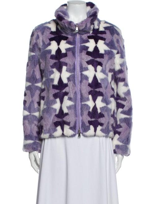 Saks Potts Printed Fur Jacket Purple