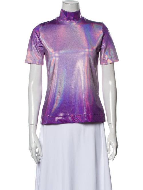 Saks Potts Printed Mock Neck Top Purple