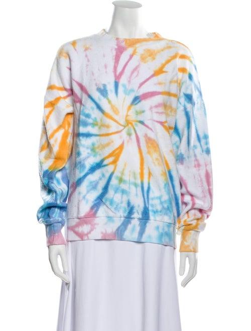 Sprwmn Tie-Dye Print Crew Neck Sweater Blue - image 1