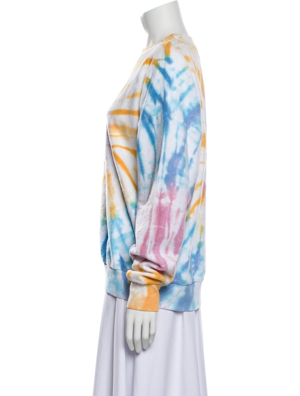 Sprwmn Tie-Dye Print Crew Neck Sweater Blue - image 2