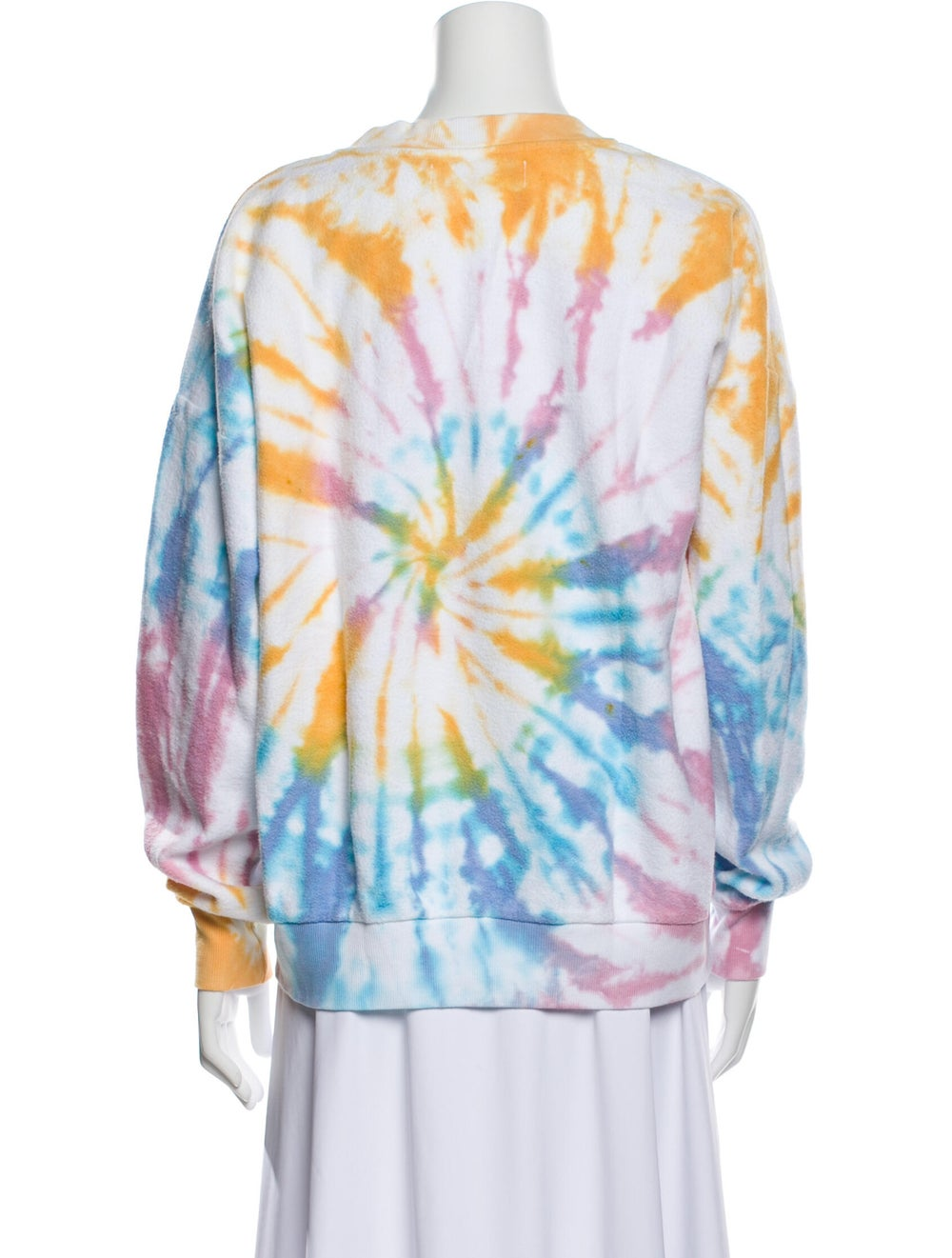 Sprwmn Tie-Dye Print Crew Neck Sweater Blue - image 3