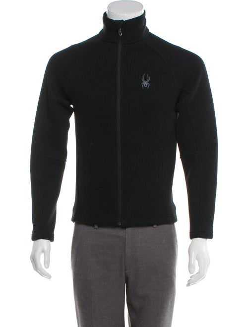 Spyder Logo Embroidered Zip Sweater black