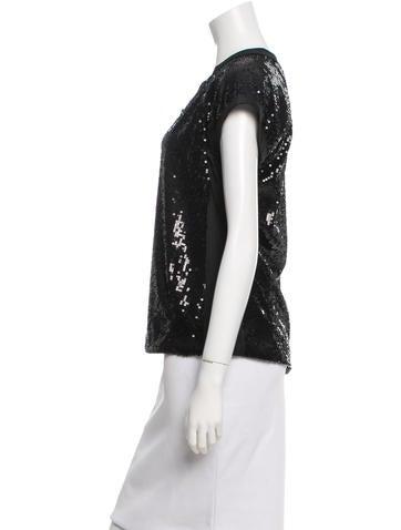 Sequin-Embellished Short Sleeve Top