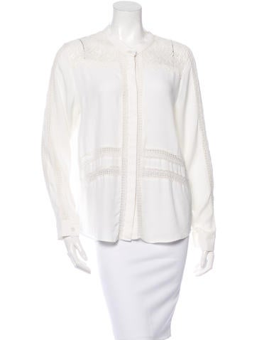 Sea Lace-Accented Button-Up Top
