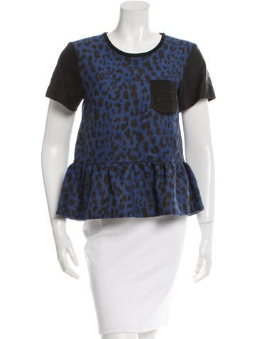 Sea Leather-Trimmed Peplum Top w/ Tags