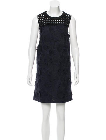 Sea Embroidered Flower And Grid Lace Dress w/ Tags None