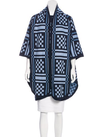 Sea Patterned Knit Poncho None