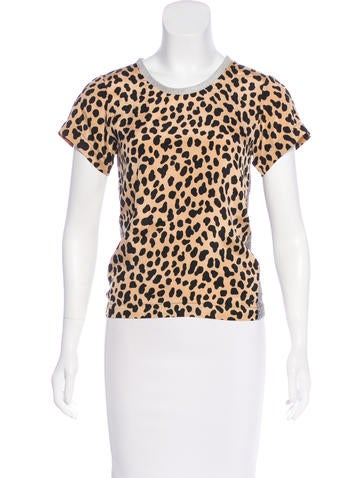 Sea Cheetah Print Silk Blend Top None