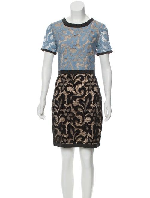 Sea Lace Pattern Mini Dress Blue