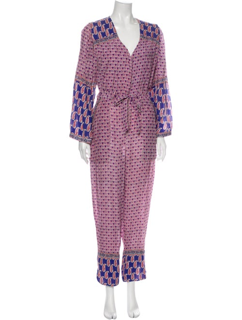 Sea New York Paisley Print V-Neck Jumpsuit Purple